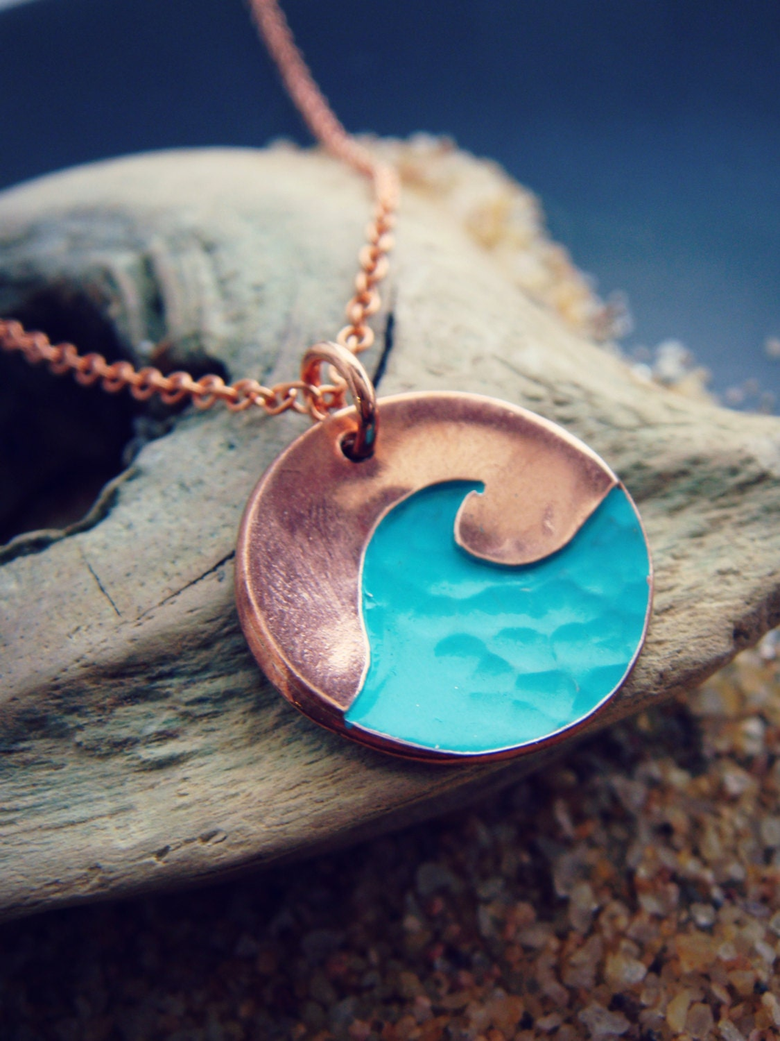 Textured Wave Pendant In Sterling Silver Or Copper Or Bronze