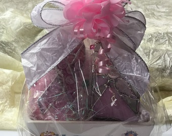 Breast Cancer Stained Glass Gift Basket
