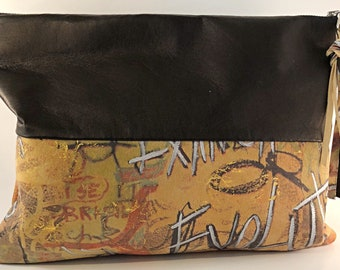 Leather graffiti clutch