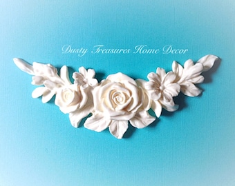 Shabby chic rose french style moulding furniture appliques onlays