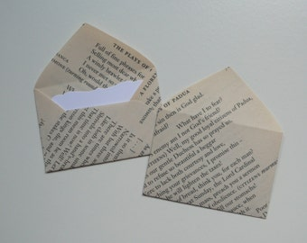 William Golding mini envelopes with inserts, Lord of the Flies, Book envelopes, Paper embellishments, Sets of 10, Book favors, Bujo