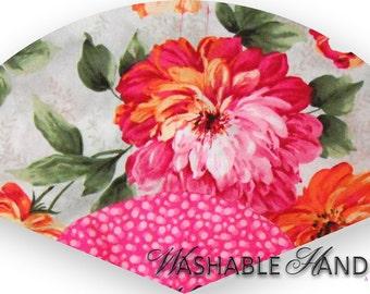 Washable Hand Fan Traditional Fuchsia & Orange Flowers