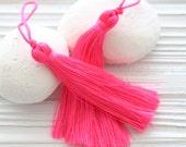 Hot pink tassel, neon pink tassels, tassels for jewelry, tassel, bright Summer color tassels,pink mala tassel, thread tassel,neon colors,N50