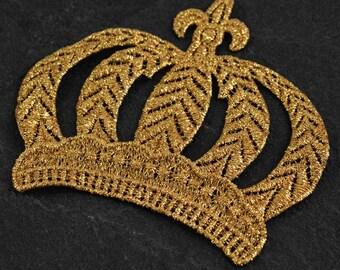 """4-1/2"""" Metallic Crown Applique Patch by pc, LP-CROWN"""