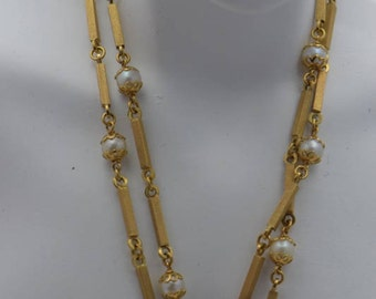 """18K Yellow Gold Square Rod and Pearl Set Linked Necklace 22"""" Long"""