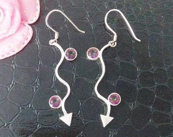 MIDNIGHT MYSTIC TOPAZ Gemstone Studded In Solid 925 Sterling Silver Earrings, Handmade Dangle Earrings, November Birthstone
