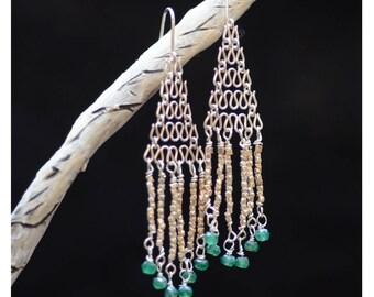 Chain Mail Silver Earrings. Green Quartz Sterling Silver Earrings.  Chandelier Net Earrings.  Gemstone Earrings.