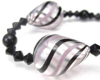 3 Hollow Glass Teardrop Beads with Pink and Black Stripes Spiral Pattern 21mm