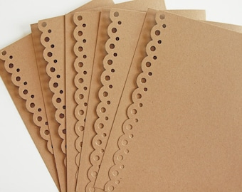 Scallop Edged Greeting Cards - Note Card Set of 5 - Paper Laced Kraft - Ready to Decorate - A2 Size
