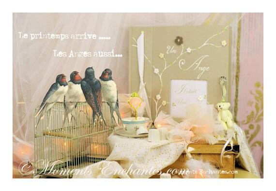 Livre d'or Baptême chic lin bis fleurs crochet journal de naissance garçon livre de souvenirs livre de vie personnaliser mothers' Day