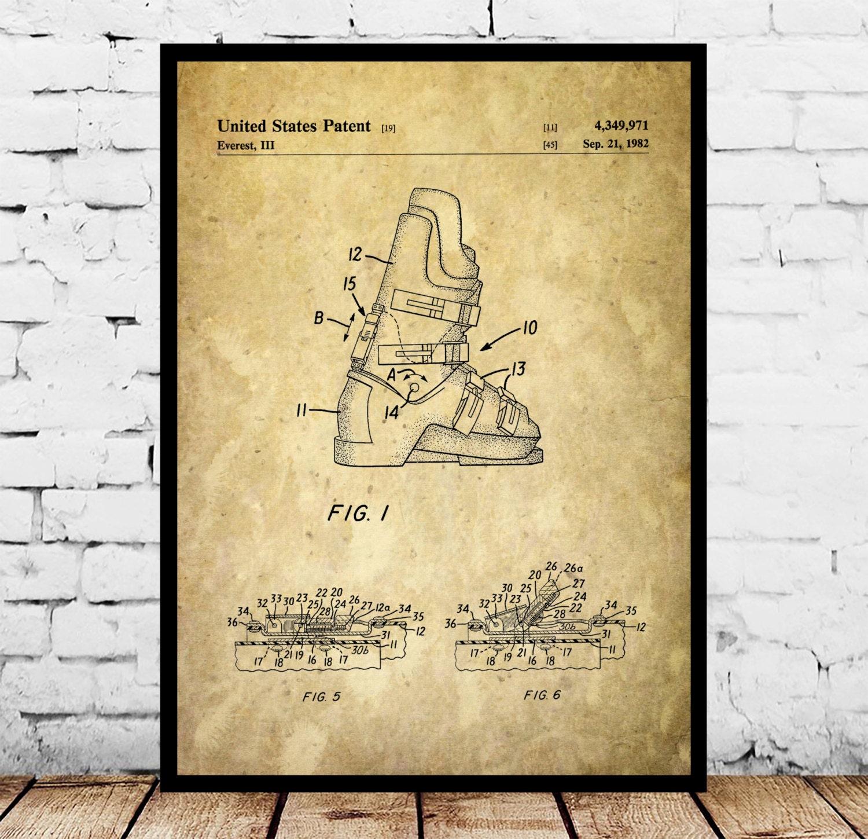 Ski Boots Patent Ski Boots Poster Ski Boots Blueprint