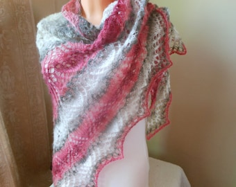 Lace shawl mohair yarn coral beige white, hand knitted