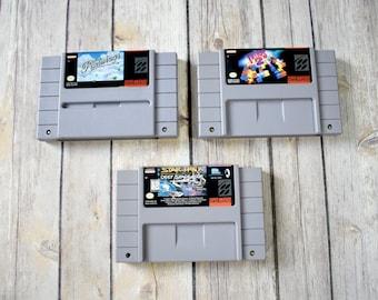 SUPER NINTENDO Game Cartridges - Small Lot - Tetris 2 - Pilotwings - Star Trek Deep Space Nine - SNES Video Games - Original 90s 1990s