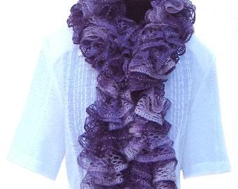 Ruffle Scarf-Handmade Knitted-Red Heart Sashay Yarn - Purple,Green, Yellow, Blue, Beige, Gray