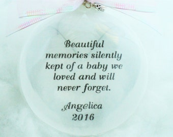 Miscarriage In Memory Ornament Beautiful Memories Silently Kept, Free Personalization and Charm