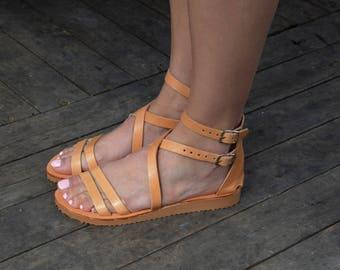 Greek Leather Sandals, Platform sandals, Criss cross sandals, Grecian Chic Sandals, Ankle cuff sandals, Natural beige sandals