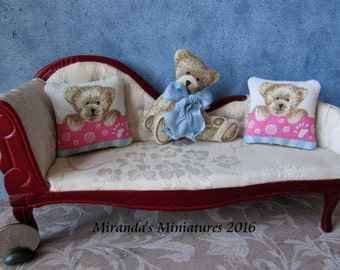 Dollhouse roombox Miniature Teddy Bear Pink and Blue nursery pillow set
