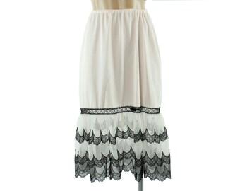50s Van Raalte Opaquelon Long Half Slip Pink Black Lace Ruffled Vintage 1950s Medium M