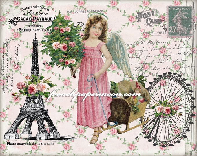 Christmas Angel in Paris Digital Image, Shabby Christmas, Paris, Roses, Printable Graphic Transfer Image 0111