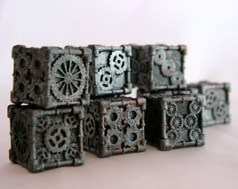 Dice (1 Die) - 3D printed, Steampunk Style, Iron Finish