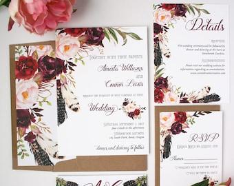 Boho Wedding Invitations - Burgundy - Wedding Invitations - Boho Burgundy Collection Deposit
