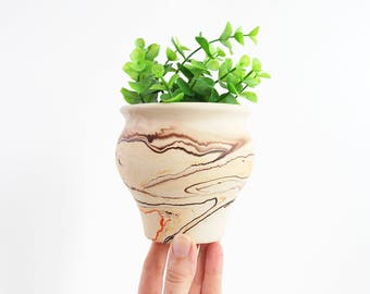 Vintage Nemadji Pottery Planter / Southwestern Nemadji Vase / Boho Home Decor / Natural Home Decor / Nemadji Marble Glaze Planter