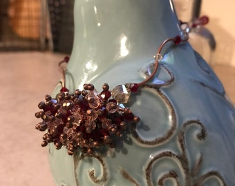 Red and Clear Copper and Brass Necklace