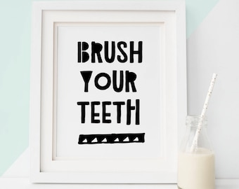 Brush Your Teeth Sign 50% OFF Printable Art Instant Printable Bathroom Rules Sign  Bathroom Art Bathroom Print Art Prints black and white