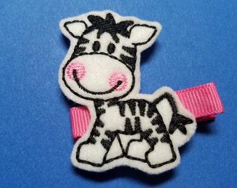 """Zebra Feltie Hair Clip Clippie - """"Zelda the Zebra"""" - For Infant Toddler Girl"""