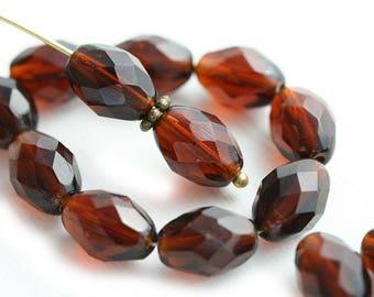 11x8mm Dark Topaz oval beads czech glass fire polished olive shaped barrel beads - 20Pc - 2300