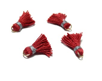 PAX 10 MINI tassels passementiere charm with ring 18mm red and grey PS11101840 thread