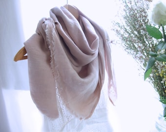 Large dusty pink linen scarf, pastel blanket scarf, natural rose washed linen wrap, cozy oversized wedding stole, extra wide shawl, her gift