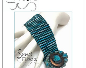 Peyote Pattern - Between the Lines (Turquoise) Cuff / Bracelet - A Sand Fibers For Personal/Commercial Use PDF Pattern