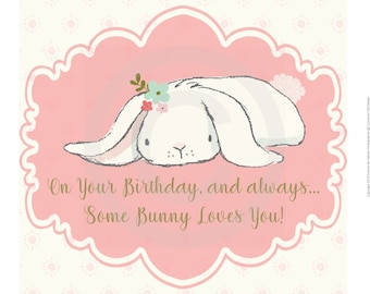 5.5x5.5 inches Birthday Card - Somebunny Loves You