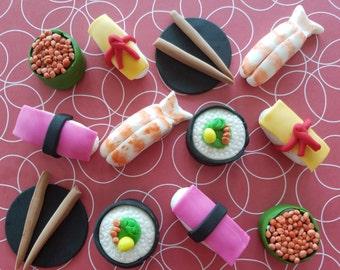 12 fondant cupcake toppers--sushi, California rolls, chopsticks