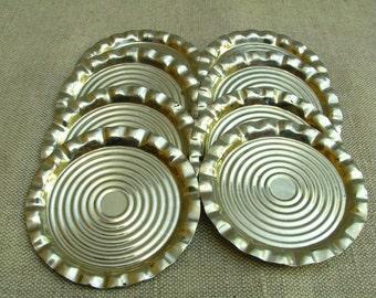 Vintage Set of 8 Little Metal Plates for Glasses for Wine Glasses 1970s