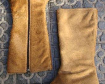 Dell'annata caramello marrone breve capelli caldo inverno BootsPonti stivali di pelliccia / Cool capelli stivali / inverno stivali Vintage