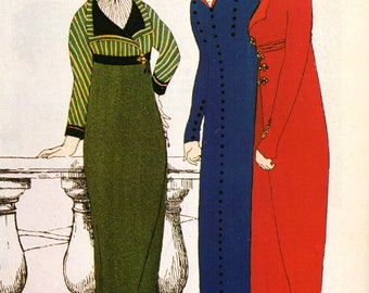 1979 Vintage Art Deco Fashion Print THREE GOWNS Les Robes de Paul Poiret