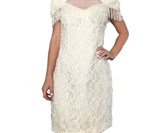 White Fringe Dress/Fringe Sequin Dress/Fringe Gown/Cream Sequin Dress/White Sequin Dress/ Lace Dress/ Open Back Dress/ Formal Dress