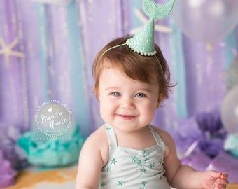 Mermaid Birthday || Mermaid Birthday Party Hat || Mermaid Crown || Mermaid Glitter First Birthday Hat || Ariel Under the Sea