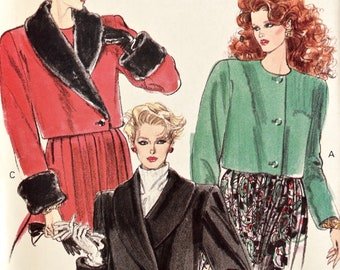 Very Easy Very Vogue 7336 Sewing Pattern Vintage 1980s Jacket Loose-Fitting Shawl Collar Asymmetrical Closing Cuffs UNCUT Size 6- 8-10