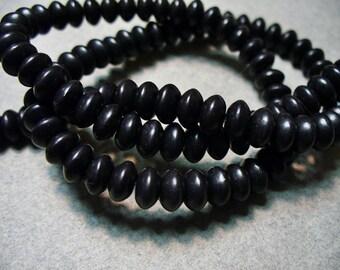 Magnesite Beads Gemstone Black Rondelle 6x4MM