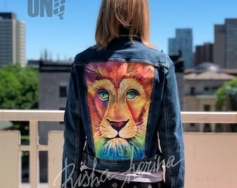 Handmade Lion Painting on Jeans Jacket (Acrylic Paints)