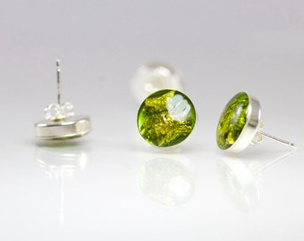 Green Stud Earrings with 22K Gold Flakes