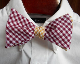 Bow Tie - College of Charleston Maroon and Gold Gingham- Men's self tie