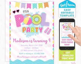 Pool Party Invitation, Pool Birthday Party Invitation, Pool Party Editable Invitation, Edit With Your Phone id: PBI_168