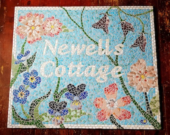 Mosaic Sign, Address Sign, House Name, Cottage, Sign, Custom Sign, Bespoke Design, Mosaic Art, Sign, House, Home, Unusual Gift, Unique Gift