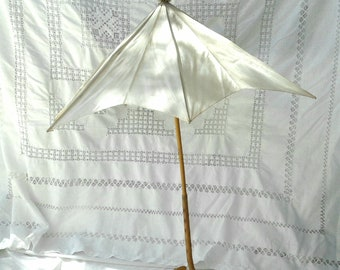 Antique Parasol * Bentwood * Aged Cream White Silk * Women of the California Gold Rush * Photo Movie * Reenactment Prop / Theater Stage