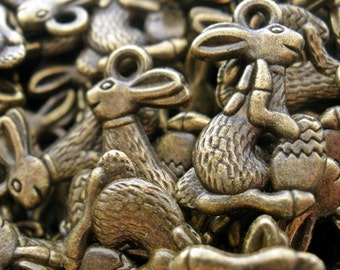 Bunny Charms  Antique Bronze Tibetan Style (50)