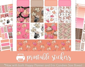 Printable Planner Stickers Autumn Pumpkins! August/September/October/November Weekly Kit! For use with Erin Condren/Happy Planner!